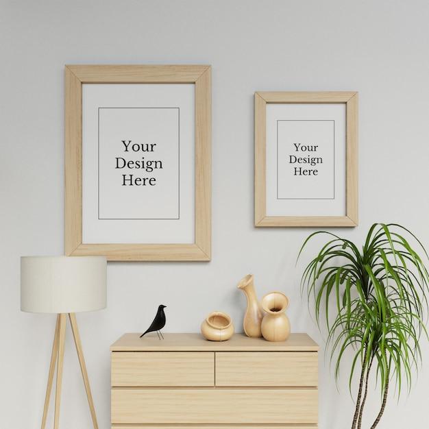 Готовый использовать два плаката кадр макет шаблона висит портрет в деревянный интерьер Premium Psd