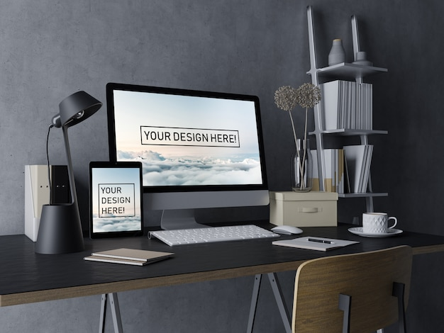 Ready to use desktop pc and tablet mockup design template with editable display in black modern indoor workspace Premium Psd