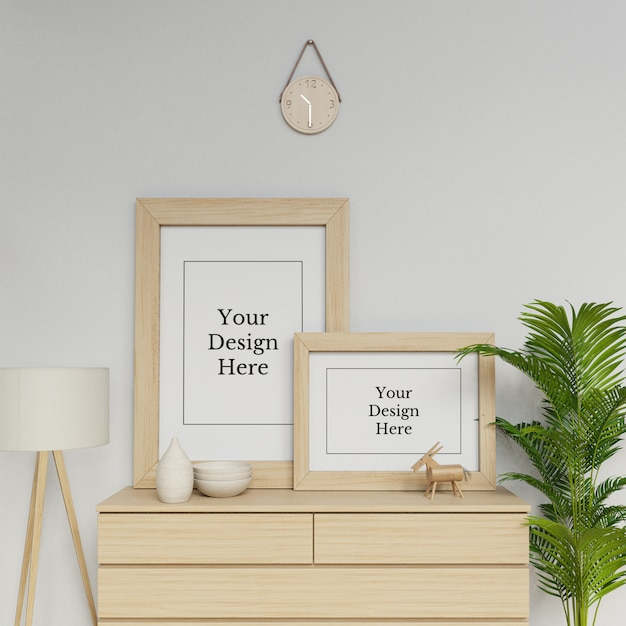 Ready to use double frame mock up template sitting on a drawer in interior scene Premium Psd