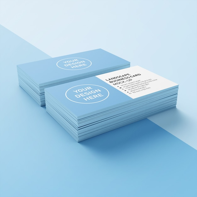 Ready to use double stack 90x50 mm premium landscape company business card mock up design template in lower perspective view Premium Psd