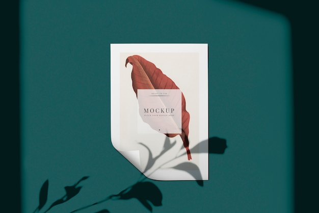 Ready to use poster mockup with a leaf Free Psd