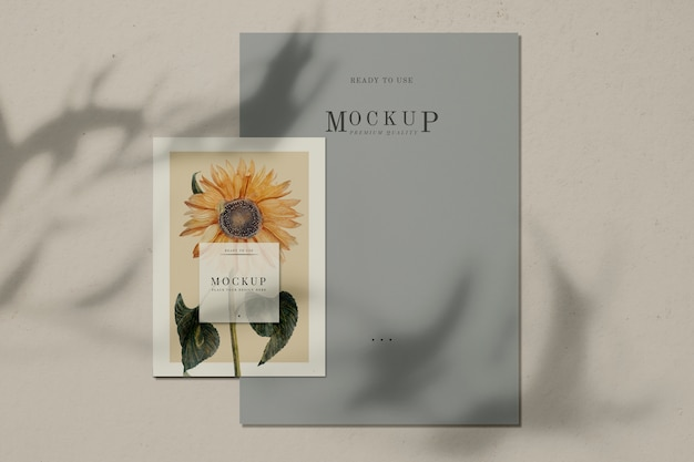 Ready to use sunflower poster mockup Free Psd
