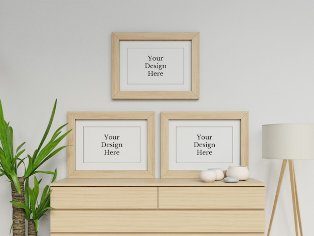 Ready to use three poster frame mock up design template in contemporary interior Premium Psd