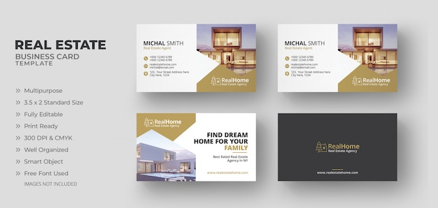 Real estate business cards Premium Psd