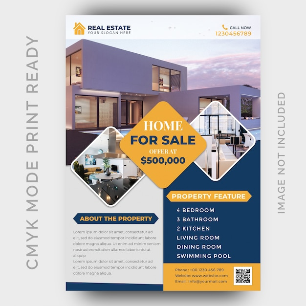 Real estate business flyer design template Premium Psd