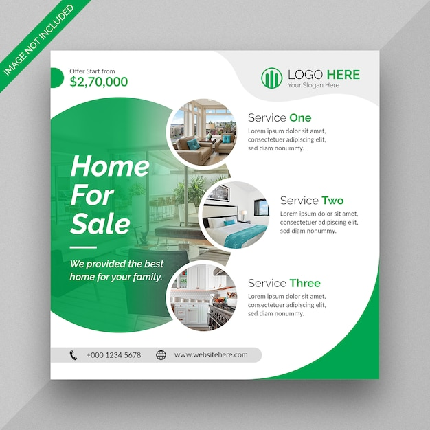 Real estate business social media post and square flyer template design Premium Psd