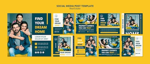 Real estate concept social media posts Premium Psd