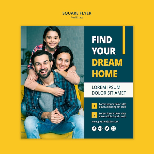 Real estate concept square flyer design Free Psd