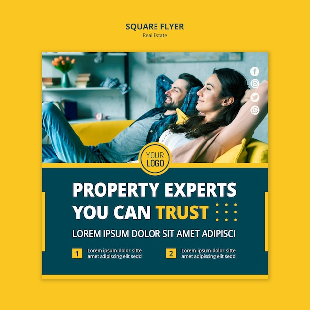 Real estate concept square flyer style Free Psd