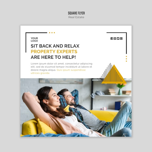 Real estate flyer template design Free Psd