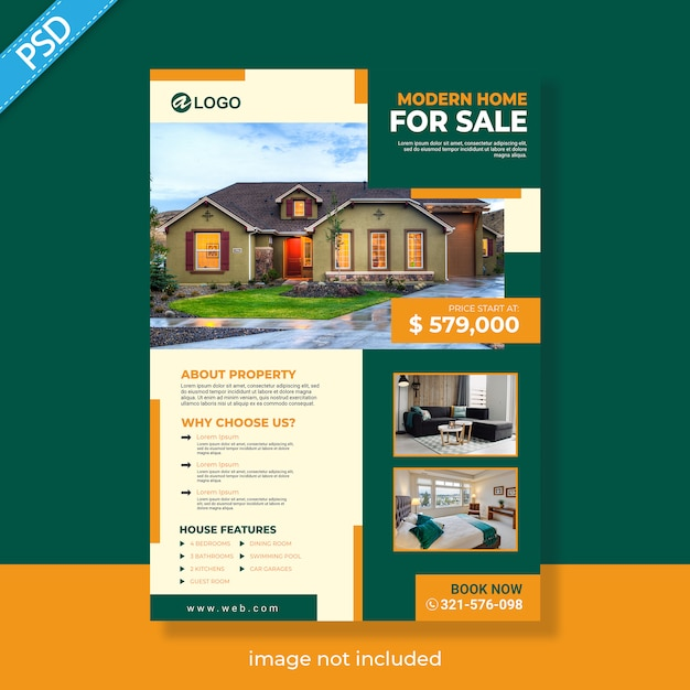 Real estate flyer template Premium Psd