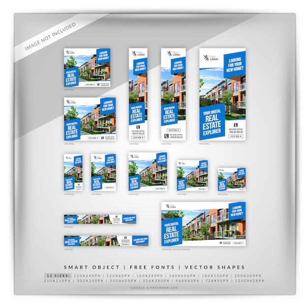 Real estate google banner set Premium Psd