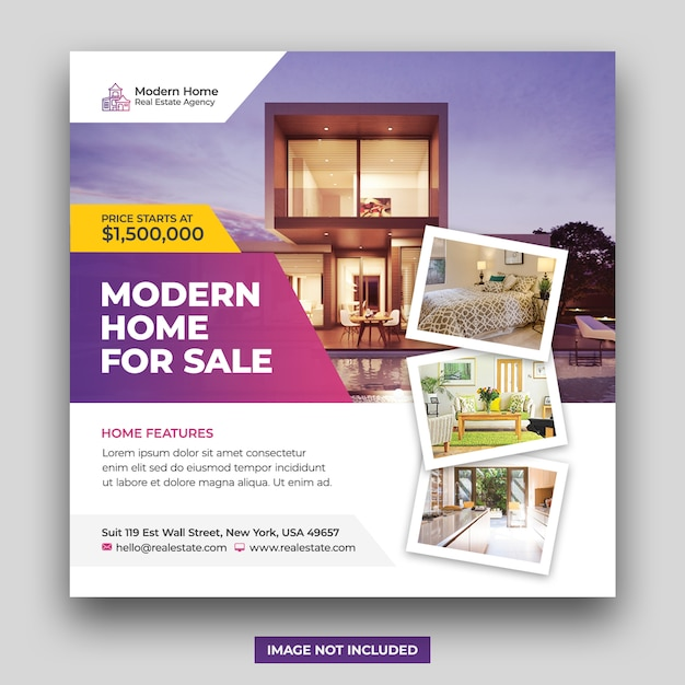 Real estate home for sale social media banner & square flyer template Premium Psd