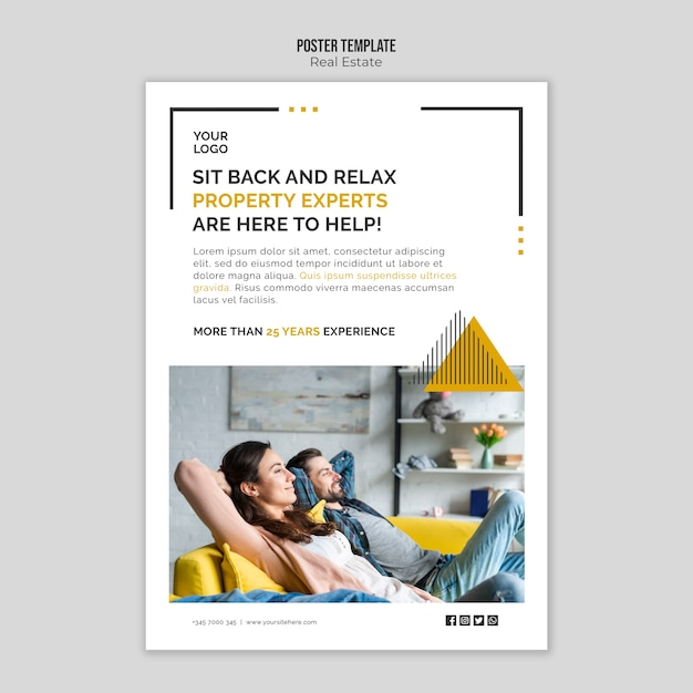 Real estate poster template concept Free Psd