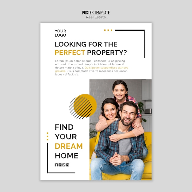 Real estate poster template design Free Psd