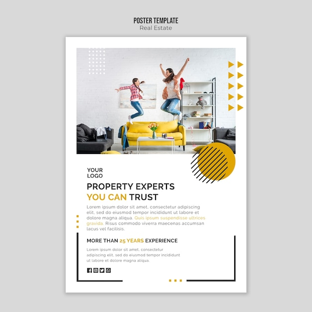 Real estate poster template theme Free Psd