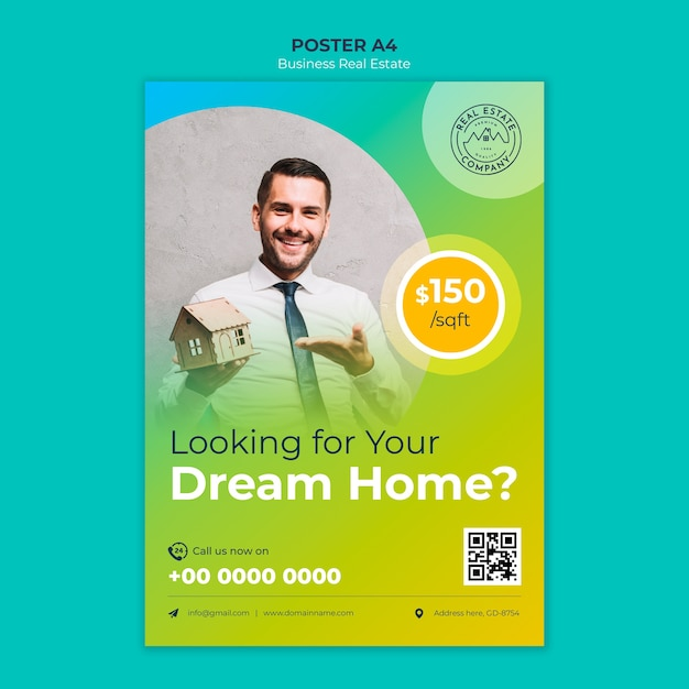 Real estate poster with photo Free Psd