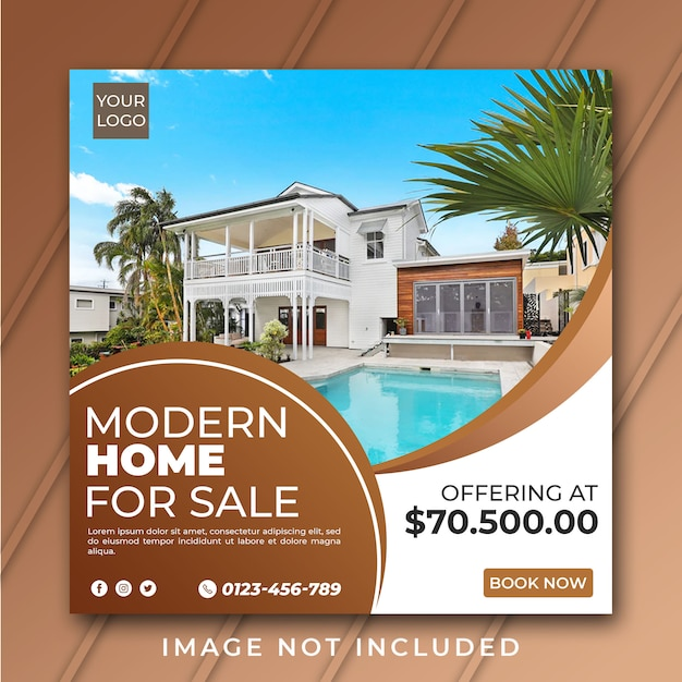 Real estate for sale instagram post or flyer square template psd Premium Psd