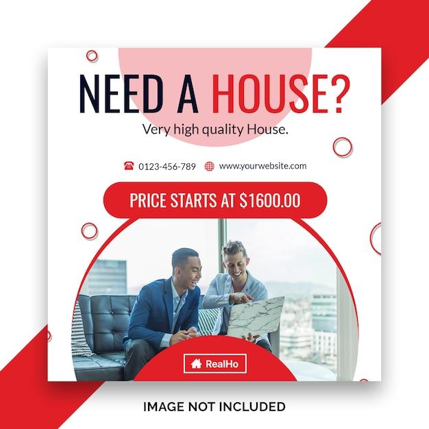 Real estate sale social media banner or square flyer template Premium Psd
