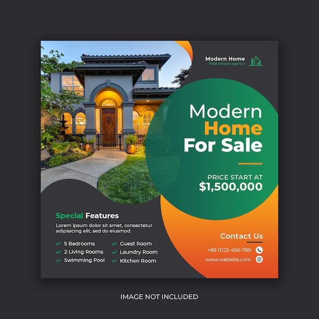Шаблон баннера социальных медиа недвижимости Premium Psd