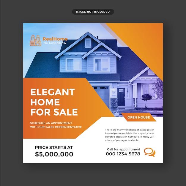 Сообщение о недвижимости в социальных сетях и шаблон веб-баннера Premium Psd
