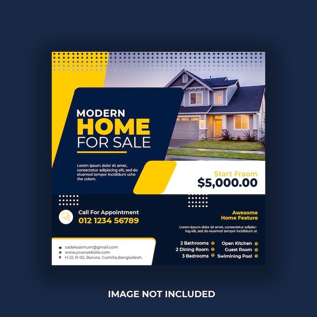 Real estate social media post banner template Premium Psd