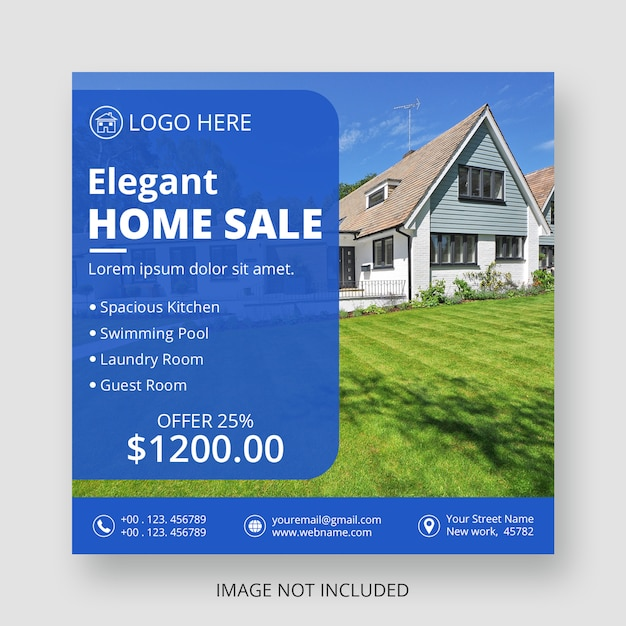 Real estate social media post template Premium Psd