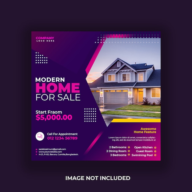 Real estate social media post and web banner Premium Psd