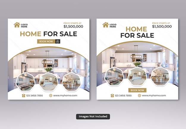 Real estate social media square banner templates Premium Psd