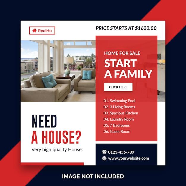 Real estate square banner template Premium Psd