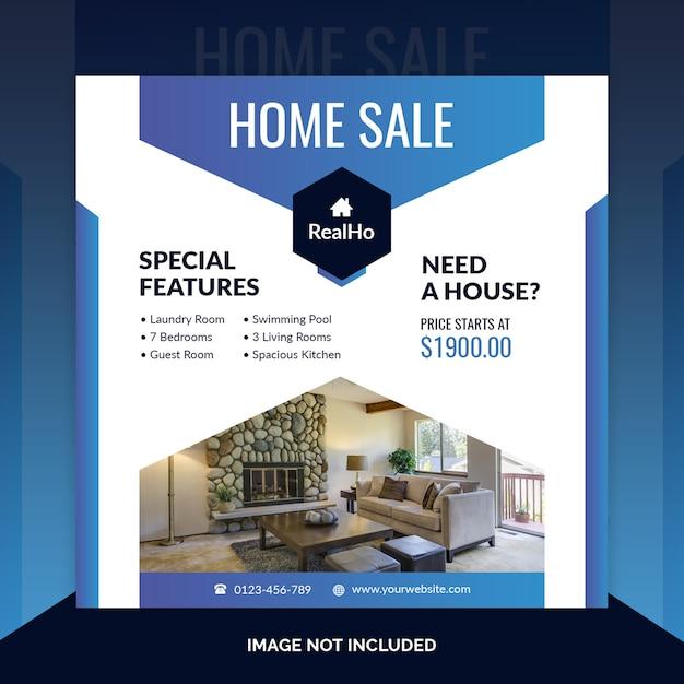 Шаблон баннера недвижимости квадратный Premium Psd