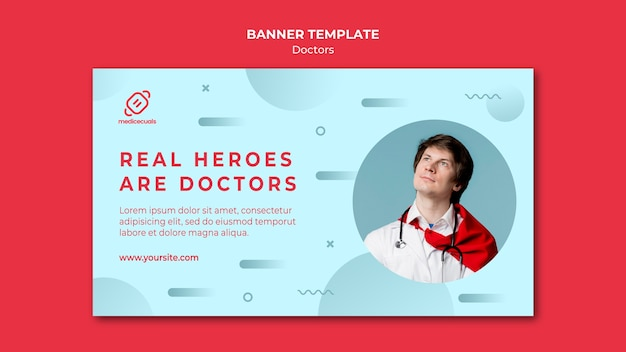 Real heroes are doctors banner template Free Psd