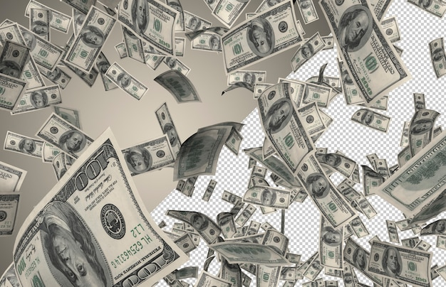 Real money rain - сотни долларов падают сверху Premium Psd