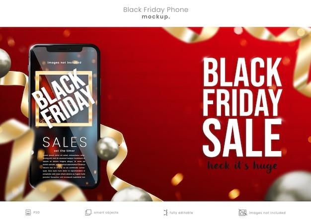 밝은 빨간색 배경에 현실적인 3d 검은 금요일 전화 목업 프리미엄 PSD 파일