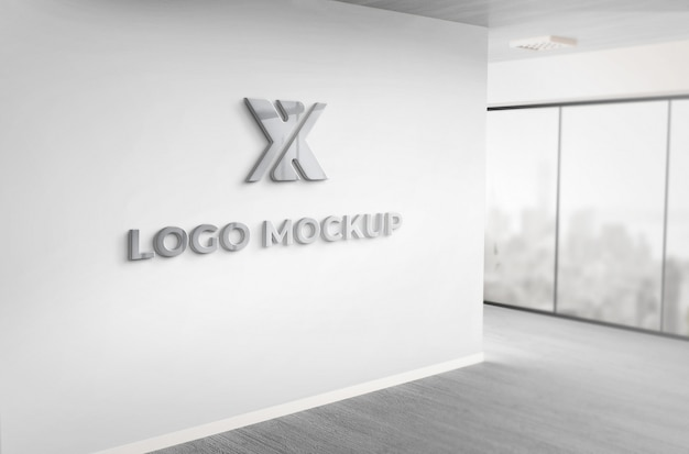 Realistic 3d dark grey logo mockup office wall Premium Psd