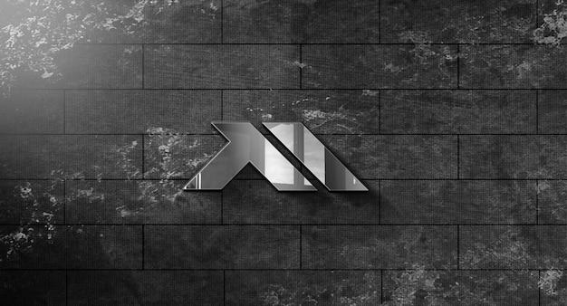 Реалистичный 3d макет логотипа в дизайне стены Premium Psd
