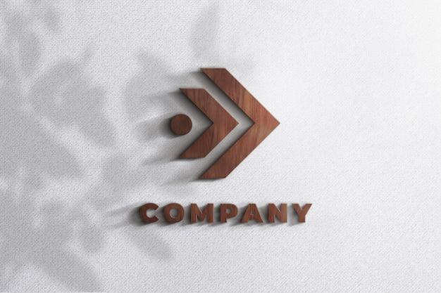 Реалистичные 3d вуд логотип макет текстуры стены шаблон Premium Psd