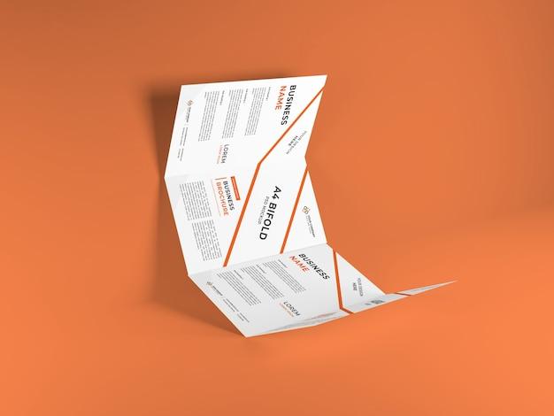 現実的なa4二つ折りパンフレットモックアップテンプレート Premium Psd