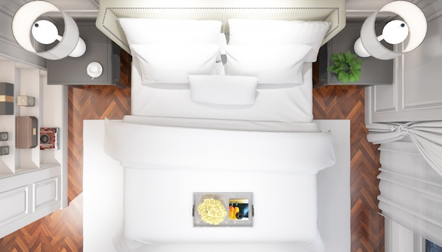 Реалистичная яркая современная спальня с двуспальной кроватью с мебелью на вид сверху Бесплатные Psd