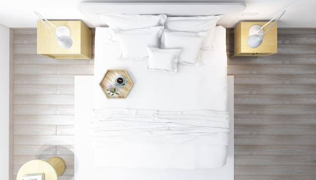 Реалистичная яркая современная двухместная спальня с мебелью Бесплатные Psd