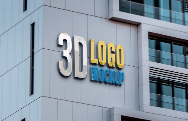 Realistic building wall logo mockup Premium Psd