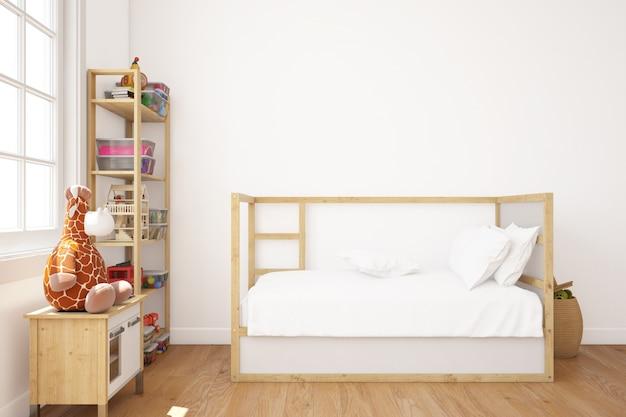 Реалистичная детская спальня с кроватью и полками Бесплатные Psd