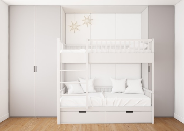 Реалистичная детская спальня с двухъярусной кроватью Бесплатные Psd