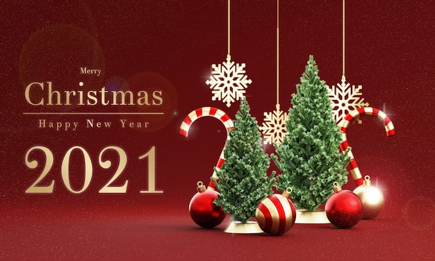 Realistic christmas decoration in 3d rendering Premium Psd