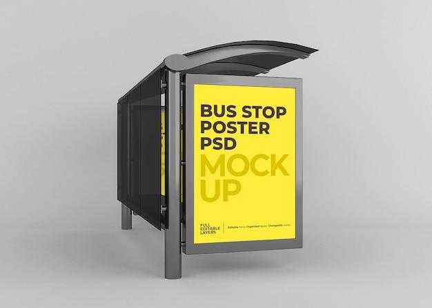현실적인 도시 버스 정류장 광고판 모형 프리미엄 PSD 파일
