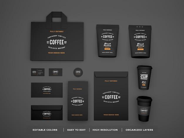 현실적인 커피 브랜드 아이덴티티 및 문구 모형 프리미엄 PSD 파일