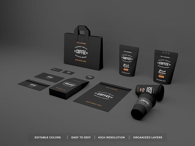 Реалистичный фирменный стиль кофе и макет канцелярских товаров Premium Psd