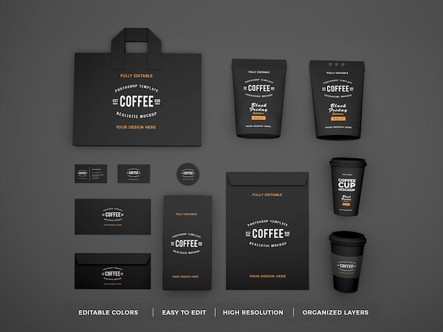 Realistic coffee brand identity and stationery mockup Premium Psd