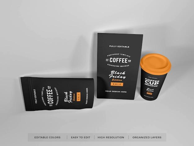 現実的なコーヒー包装セットモックアップ Premium Psd