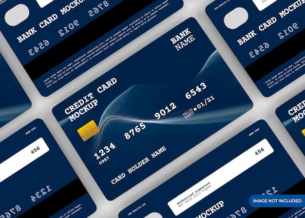 分離された現実的なクレジットカードのモックアップデザイン Premium Psd